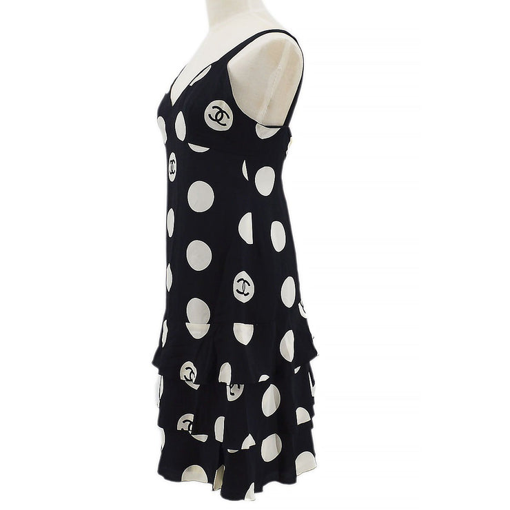 CHANEL Polka Dots Sleeveless One Piece Dress Skirt Black