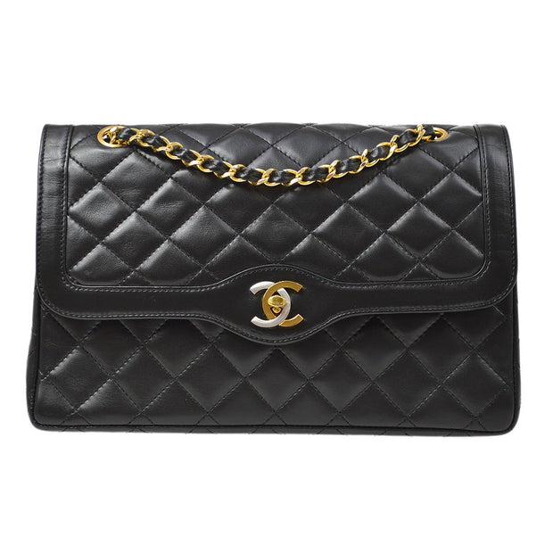CHANEL Paris Limited Classic Double Flap Medium Chain Shoulder Bag Black