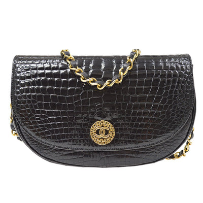 CHANEL Single Chain Shoulder Bag Black Crocodile