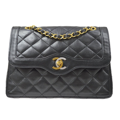 CHANEL Paris Limited Double Flap Chain Shoulder Bag Black