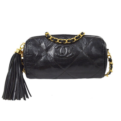 CHANEL Fringe Cylindrical Chain Shoulder Bag Black Lizard