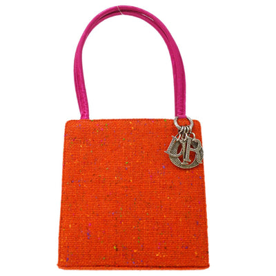 Christian Dior Lady Dior Embroidery Hand Bag Orange Pink Tweed Satin