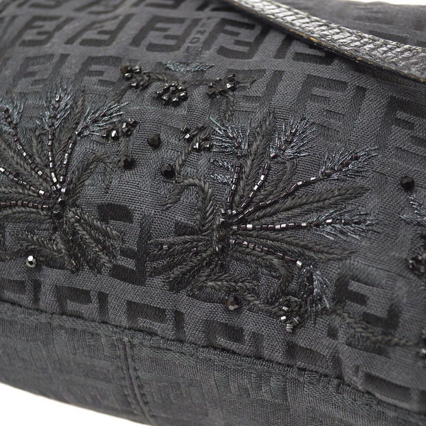 FENDI Zucchino Beads Embroidery Mamma Baguette Mini Hand Bag Black