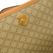 CELINE Macadam Pattern Shoulder Bag Beige