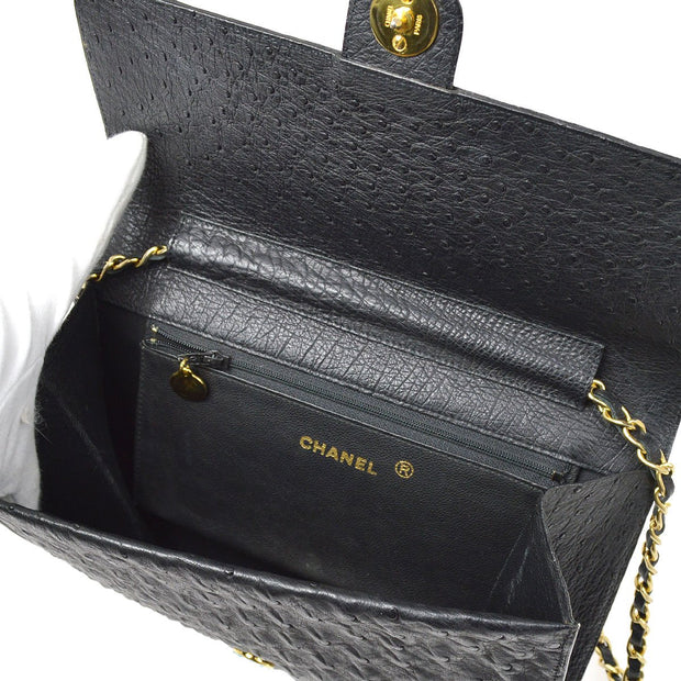 CHANEL Single Chain Shoulder Bag Black Ostrich