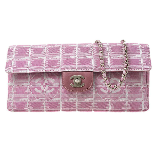 CHANEL Travel Line Chain Shoulder Bag Pink Jacquard Nylon