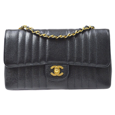 CHANEL Mademoiselle Single Chain Shoulder Bag Black Caviar