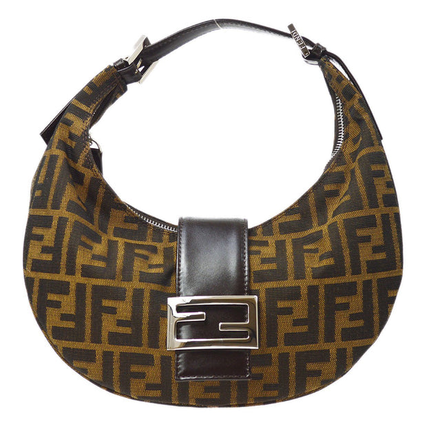 FENDI Zucca Pattern Half Moon Hand Bag Brown
