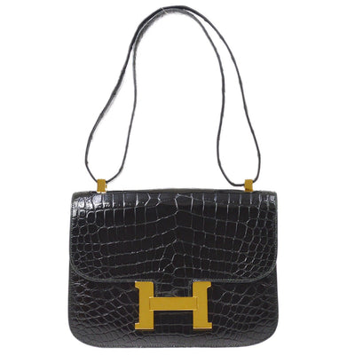 HERMES CONSTANCE 24 Shoulder Bag Crocodile Porosus Skin Black