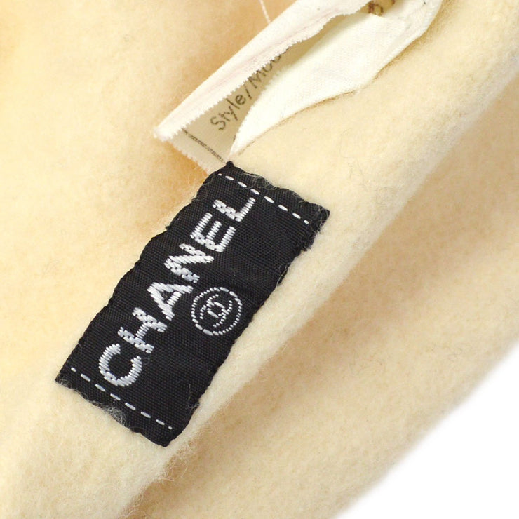 CHANEL Hat Beret Ivory