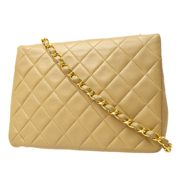 CHANEL Single Chain Shoulder Bag Beige
