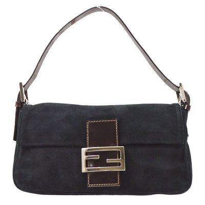 FENDI Mamma Baguette Hand Bag Black Brown Suede