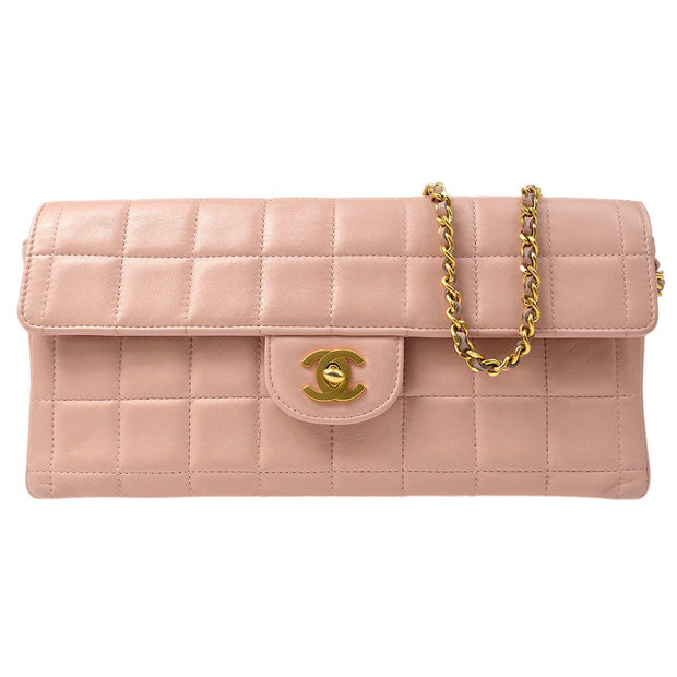 CHANEL Choco Bar Single Chain Shoulder Bag Light Pink