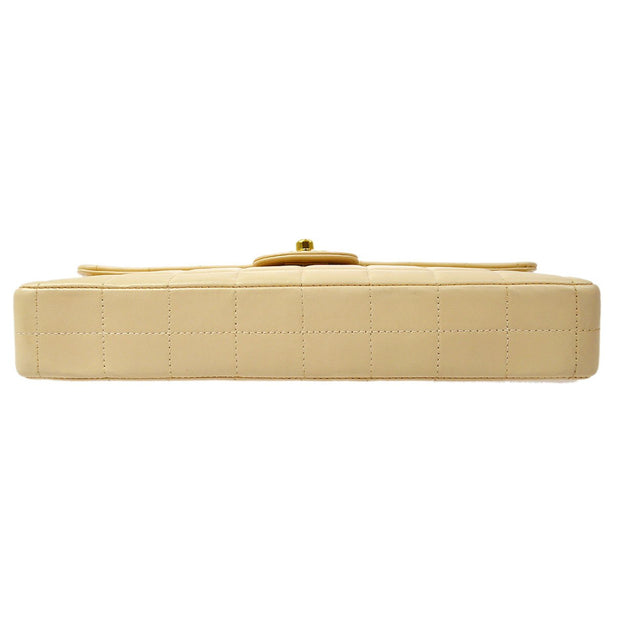CHANEL Choco Bar Single Chain Shoulder Bag Light Beige