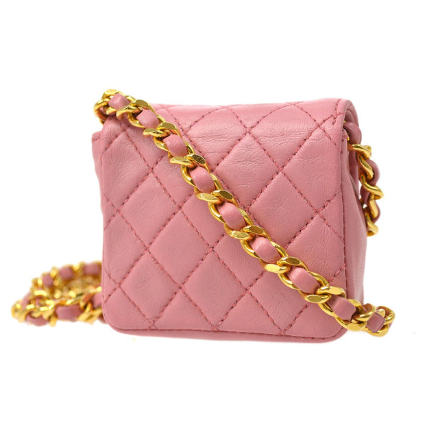 CHANEL Classic Flap Micro Shoulder Bag Pochette Pink