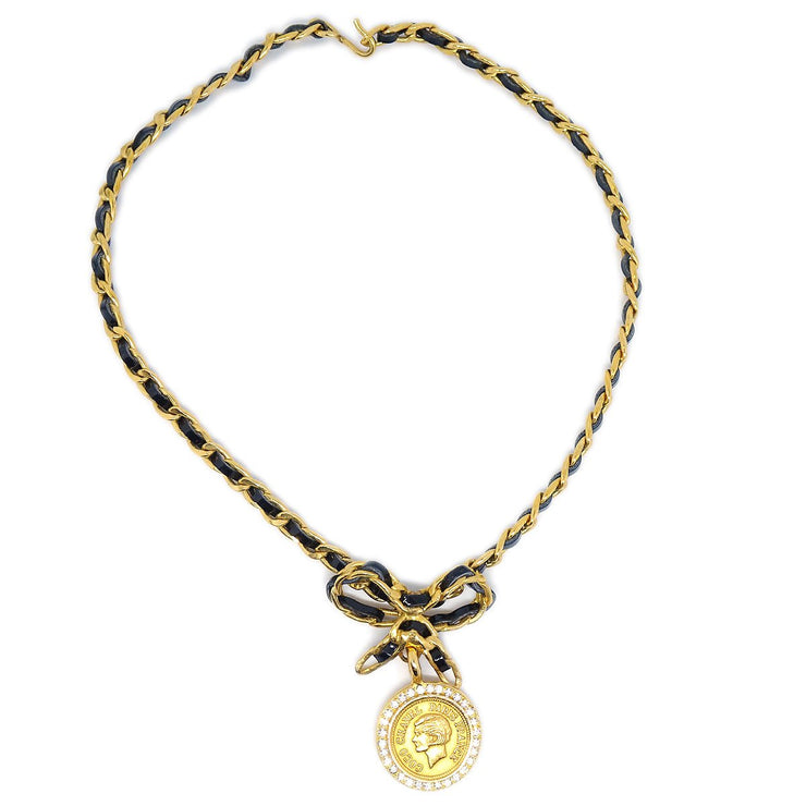 CHANEL Medallion Bow Rhinestone Necklace Choker Gold Black 96A