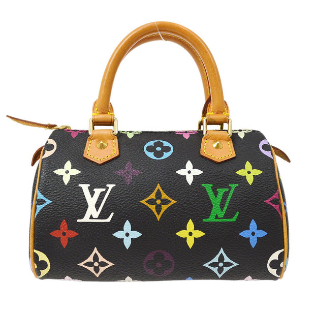 LOUIS VUITTON MINI SPEEDY 2WAY HAND SHOULDER BAG BLACK MONOGRAM MULTI M92644