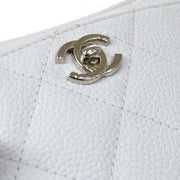 CHANEL Single Chain Shoulder Bag White Caviar Skin