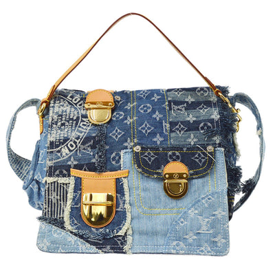 LOUIS VUITTON PATCHWORK POSTURE 2WAY HAND SHOULDER BAG MONOGRAM DENIM M95374