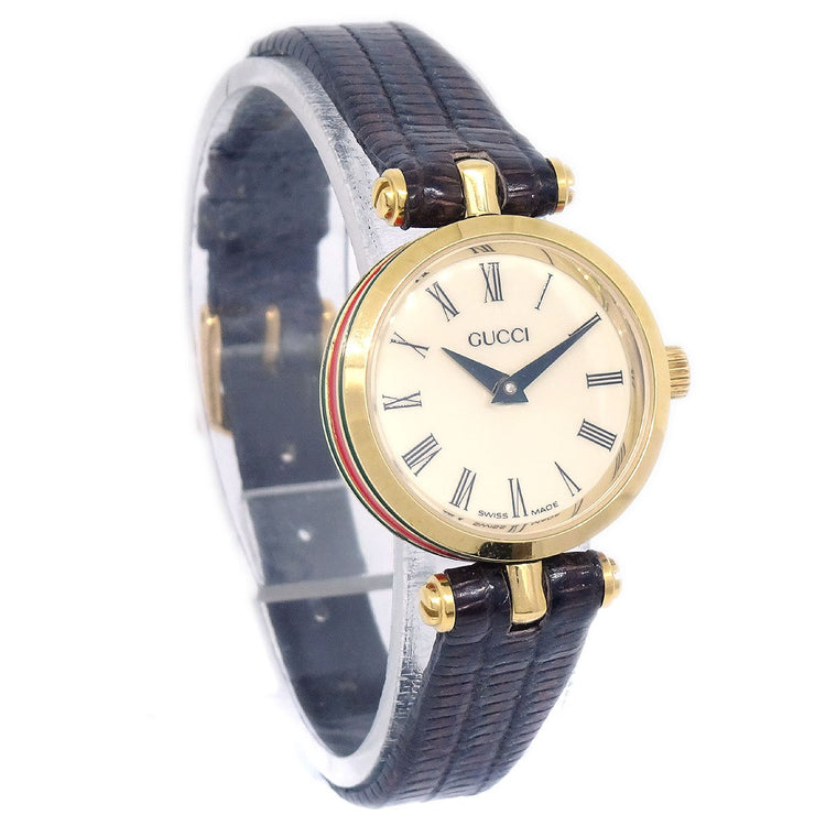 GUCCI Shelly Line Ladies Quartz Wristwatch Watch Gold plated Brown