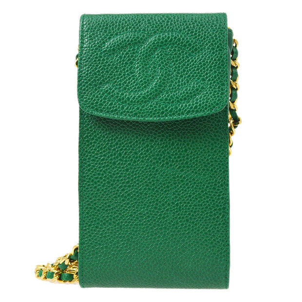 CHANEL Chain Shoulder Bag Pochette Green Caviar Skin