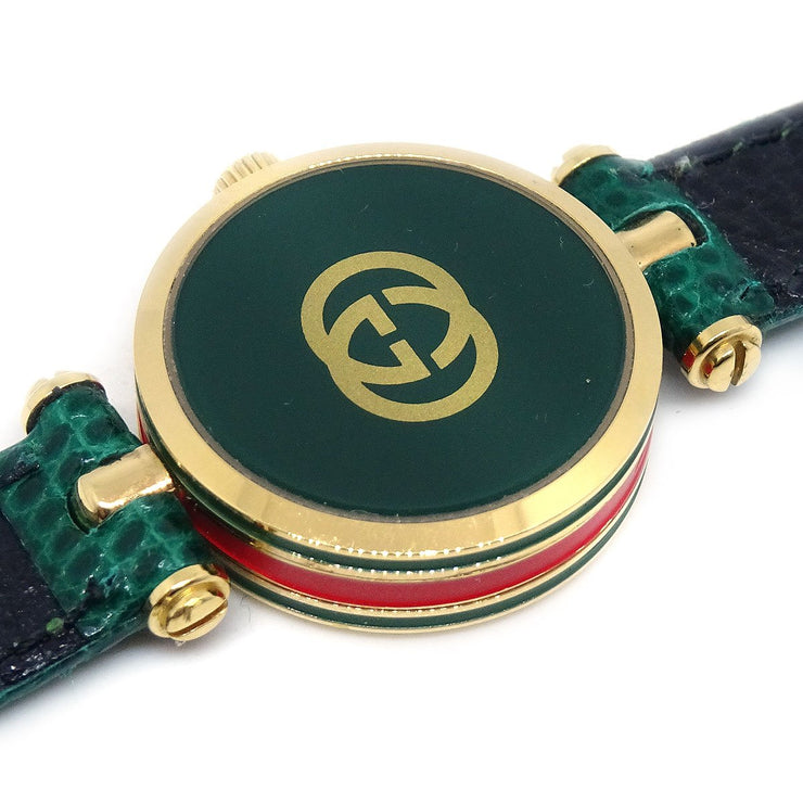 GUCCI Shelly Line Ladies Quartz Watch Gold plated Green