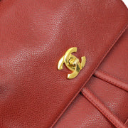 CHANEL Triple Chain Backpack Bag Red Caviar Skin