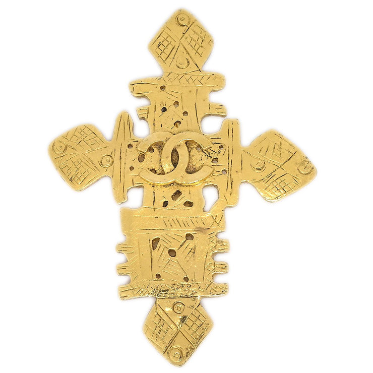 CHANEL 94P Cross Brooch Pin Corsage Gold