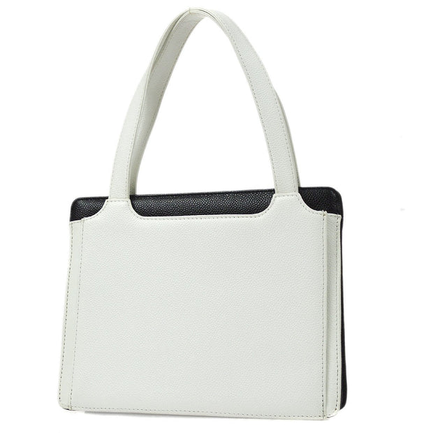 CHANEL 2.55 Line Hand Tote Bag Bi-Color White Black Caviar Skin
