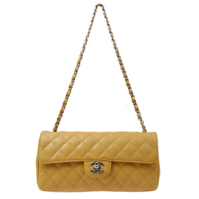 CHANEL Single Chain Shoulder Bag Beige Caviar Skin