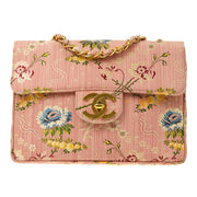 CHANEL Classic Flap Jumbo Chain Shoulder Bag Pink Embroidery