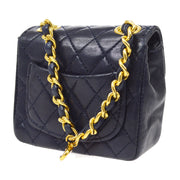 CHANEL Classic Flap Micro Chain Bum Belt Bag Pouch Navy