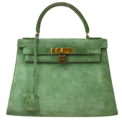 HERMES KELLY 28 SELLIER Hand Bag Green Suede