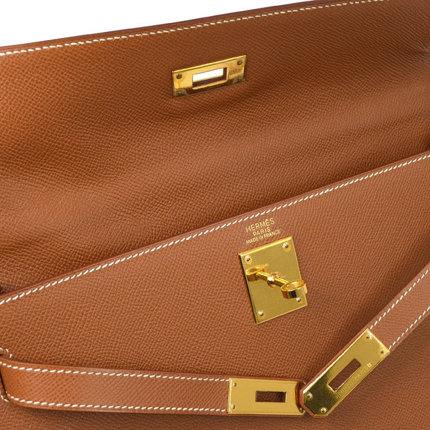HERMES KELLY 32 SELLIER 2way Hand Shoulder Bag Gold Veau Greine Couchevel
