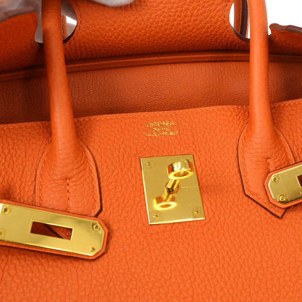 HERMES BIRKIN 30 Hand Bag Orange Veau Crispe Togo