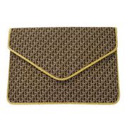 Christian Dior Trotter Pattern Clutch Party Hand Bag Brown
