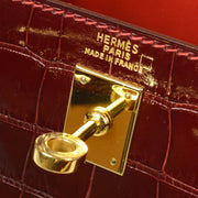 HERMES MINI KELLY 20 2way Hand Shoulder Bag Alligator Wine