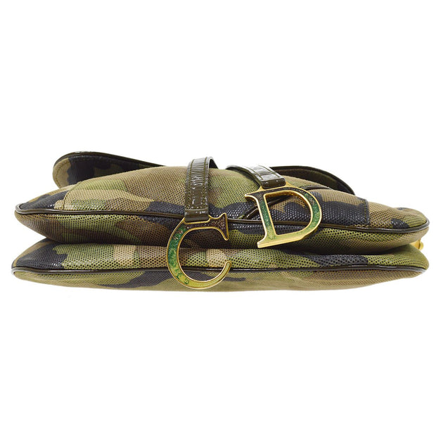 Christian Dior Camouflage Saddle Hand Bag Khaki