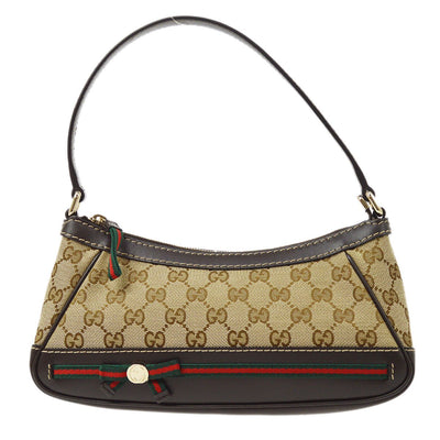 GUCCI GG Shelly Line Hand Bag Brown