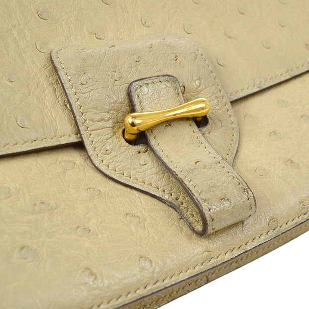 HERMES DOLLY 2way Hand Shoulder Bag Ivory Ostrich skin