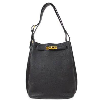 HERMES SO KELLY 22 Hand Bag Black Veau Crispe Togo