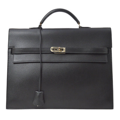 HERMES KELLY DEPECHE 34 Business Hand Bag Briefcase Black Veau Epsom