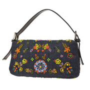 FENDI Flower Beaded Mamma Baguette Hand Bag Indigo Denim