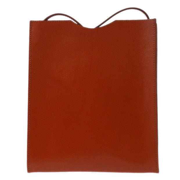 HERMES ONIMAITOU Shoulder Bag Red Brown Box Calf