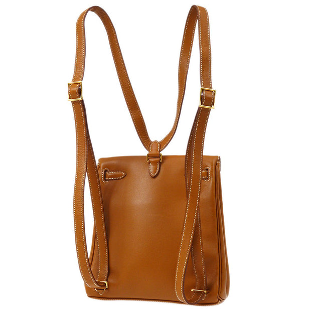HERMES KELLY A DOS PM Backpack Bag Gold Brown Veau Gulliver