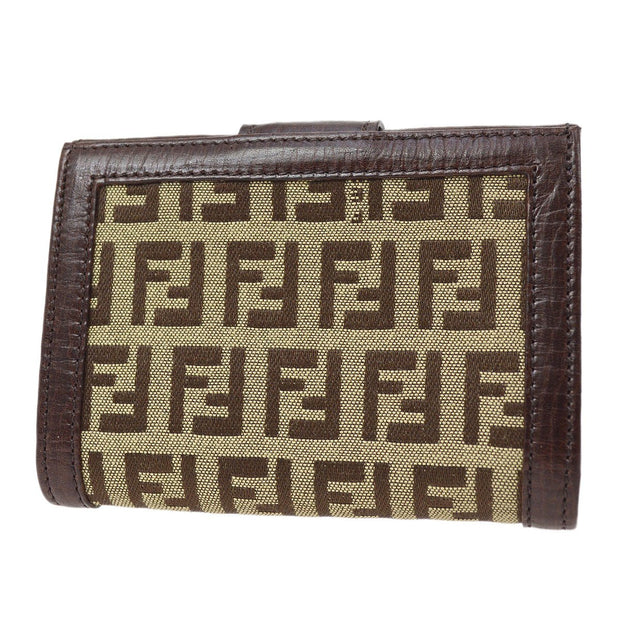 FENDI Zucchino Pattern Bifold Card Case Wallet Purse Brown
