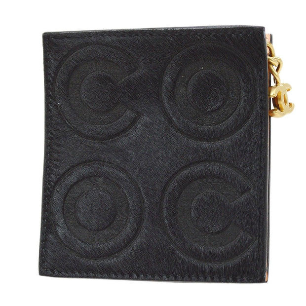 CHANEL Coin Wallet Pony Hair Black Key Ring