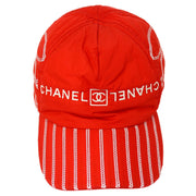 CHANEL Sport Line Cap Hat Red #M Small Good