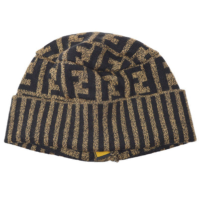 FENDI Zucca Pattern Knitted Hat Brown #42 Small Good