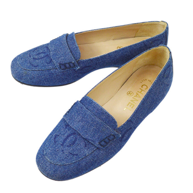 CHANEL Pumps Shoes Indigo Denim #35 1/2 C